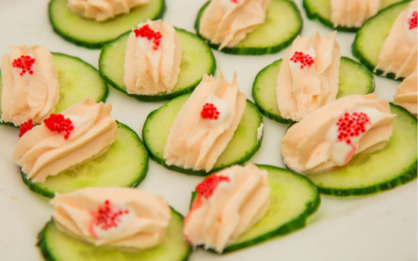 Cucumber slices with toppings