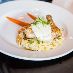 chicken on rice with grilled carrots